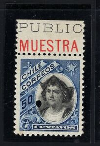 CHILE 1909 Peso Bronce 50c MUESTRA single stamp MNH American Bank Note
