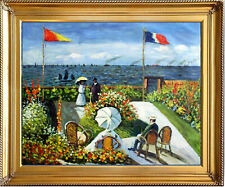 Monet GARDEN at SAINTE-ADRESSE Oil Painting 20x24 Framed Canvas **SALE