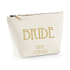 Personalised Bride Make-up/Wash Bag - Gold - Gift/Wedding Favour (Bride to Be)