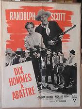 """AFFICHE CINEMA """"Dix hommes à abattre"""" avec Randolph Scott 1956"""