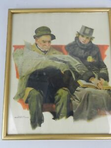 Vintage Norman Rockwell Print 1917 Framed Leslie Judge Elder Man Newspaper Girl