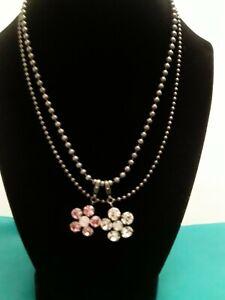 "Sabika Classics W/Two Crystal Flower Pendants 18"""