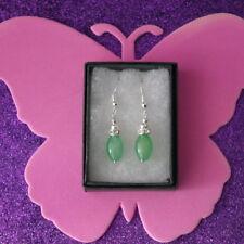 Beautiful Earrings With Jade & Diamantino 5.9 Gr. 3.5 Cm. Long + Hooks In Box