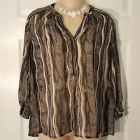 Womens Size XS COLLECTIVE CONCEPTS Gray Sheer 3/4 Sleeve Shirt Top Polyester