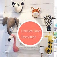 3D Felt Stuffed Animal Head Wall Hanging Children Room Decor Toy Birthday