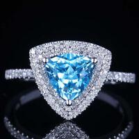 BRILLIANT! SOLID 10K WHITE GOLD BULE TOPAZ WEDDING ANNIVERSARY DIAMOND HALO RING