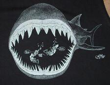 Vintage 1985 Fluid Visions SHARK & DIVER Funny Cut Off T shirt