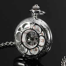 ESS Mechanical Pocket Watch Black Hollow Hands White Dial Silver Case Mens  Gift