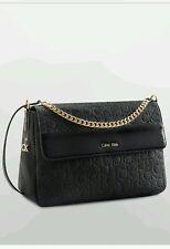 calvin klein womens sadie messenger shoulder bag black with patent