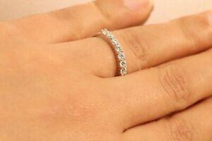 14k White Gold Finish Diamond 1ct Eternity Band Stackable Ring Endless Wedding