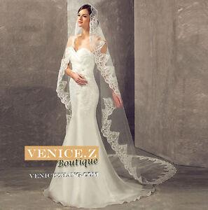 wv14BNWT 3m 3D Lace Trim Bridal Wedding Veil Ivory White Cathedral Chapel Length