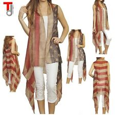 Summer Vintage Sheer DRAPED USA AMERICAN FLAG Vest Scarf long Cover Up CARDIGAN