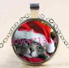 Vintage Christmas cat Cabochon Tibetan silver Glass Chain Pendant Necklace #2572