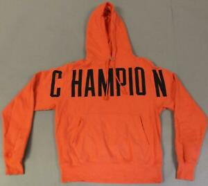 Champion Men's Reverse Weave Oversized Arch Logo Hoodie KB8 Groovy Papaya Small