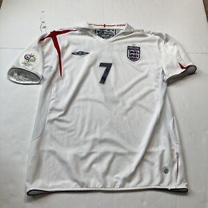 Vintage UMBRO ENGLAND DAVID BECKHAM HOME JERSEY WORLD CUP 2006 MENS Large