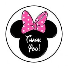 """48 THANK YOU MINNIE MOUSE PINK ENVELOPE SEALS LABELS STICKERS 1.2"""" ROUND"""
