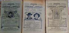 """Lot de 3 """"Journal de l' Université des annales"""" 1911 et 1918 Herriot Edouart,.."""