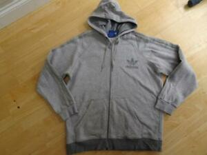 ADIDAS mens grey hooded zip thru jumper hoodie SIZE XL AUTHENTIC EXCELLENT