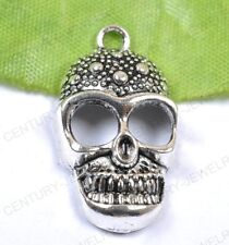 NP794 lots 10pcs Wholesale Tibet Silver Skull Charms pendant 28MM