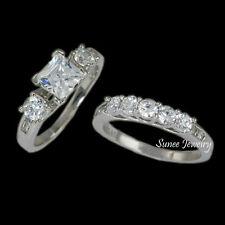 2.4ct Womens Wedding Engagement Ring Set 925 Sterling Silver sz 5-9