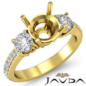 Diamond Engagement 3 Stone Elegant Round Semi Mount Ring 0.40Ct 18k Yellow Gold