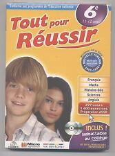 NEUF LOGICIEL PC TOUT POUR REUSSIR 6e 11-12 ANS 1400 EXERCICES ASSR REVISION