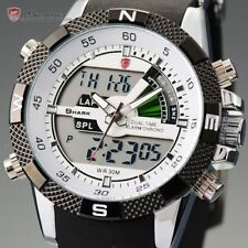 Men's White SHARK LCD Dual Time Rubber Military Date Day Quartz Sport Watch