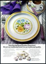 1976 Royal Doulton Stoneware DuBarry flower plate cup photo vintage print ad