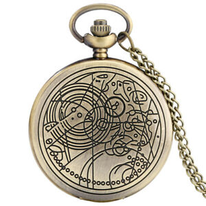 Vintage Retro Doctor Who Theme Necklace Quartz Pocket Watch Chain Mens Gift