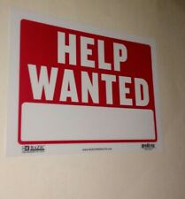 """RED 'HELP WANTED' 9""""x12"""" SIGN-FOR INDEPENDENT BUSINESSES/COMPANIES/RESTAURANTS!!"""