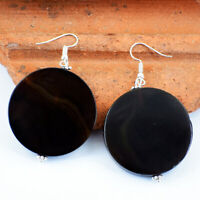 Genuine 175.00 Cts Natural Earth Mined Black Onyx Gemstone Round Shape Earrings