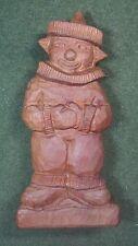 Vintage J B Artist Signed 1977 Folk Art Hand Carved Wood Clown Statue Circus Vgc