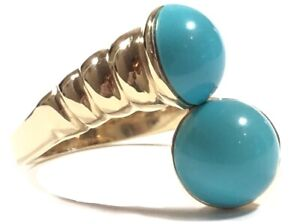 Beautiful Ladies 14K Yellow Gold Synthetic Turquoise Ring - Size 8.5