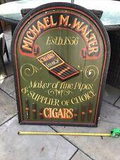 More details for vintage antique original heavy wooden shop sign. michael. m. walter cigar maker