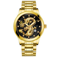Waterproof Men Gold Dragon Sculpture Quartz Watch Luxury Men Steel Wristwatch US
