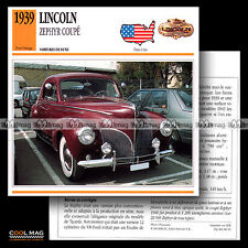 #086.15 LINCOLN ZEPHYR COUPE (1939) - Fiche Auto Classic Car card