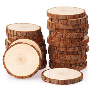 Fuyit Wood Slices 25 Pcs 8-9cm NO Hole Natural Unfinished Log Wooden Circles for