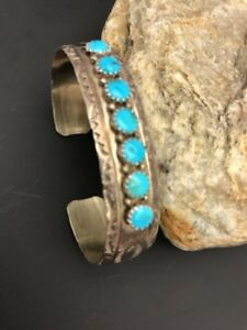 Native American Sterling Silver Kingman Turquoise Bracelet Handmade Old Pawn