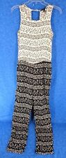 FOREVER 21 WOMEN JUMPSUIT SLEEVELESS POCKETS RAYON BLACK AND IVORY SIZE S
