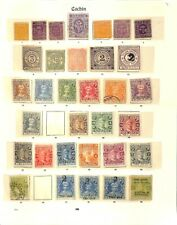 [OP3412] Cochin (India States) lot of stamps on 4 pages