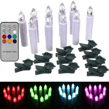 10x Battery Powered RGB LED Tapered Candles Candlesticks Xmas Tree Mount +Remote