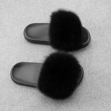 Flat Women Real Fur Sliders Slippers Indoor Outdoor Comfortable Shoes