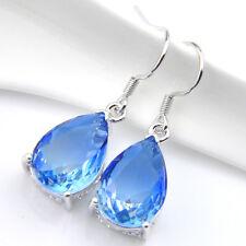 Great Party Gift Bi-Colored Tourmaline Gemstone Silver Dangle Hook Earrings
