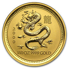 2000 1/10 oz Gold Australian Perth Mint Lunar Year of the Dragon Coin - SKU#8989
