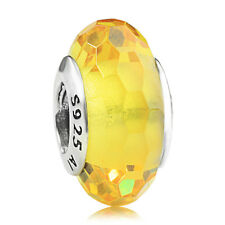 925 sterling silver Facets Yellow Murano Glass Charm Bead fit European bracelet