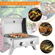 Outdoor Portable Stainless Steel Propane Gas 2 Burner BBQ Grill 20000BTUs Picnic