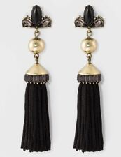 New Sugarfix By Baublebar Black Tassel Drop Statement Earrings with Crystal NWT