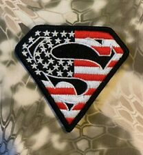 VELCRO® BRAND Hook Fastener Compatible Superman USA Full Color Patches 2.75""