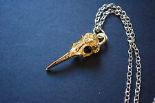 gold tone bird skull necklace Kitsch geek witch goth
