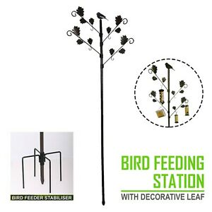 Garden Wild Bird Feeding Station with Leaves in Brown Hammertone And Stablizer